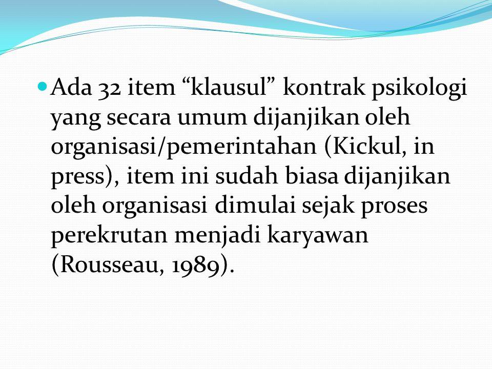 Ada 32 item klausul kontrak psikologi yang secara umum dijanjikan oleh organisasi/pemerintahan (Kickul, in press), item ini sudah biasa dijanjikan oleh organisasi dimulai sejak proses perekrutan menjadi karyawan (Rousseau, 1989).