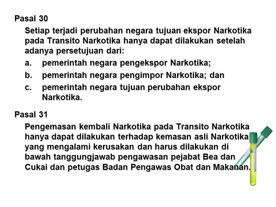 Pasal 30 Setiap terjadi perubahan negara tujuan ekspor Narkotika pada Transito Narkotika hanya dapat dilakukan setelah adanya persetujuan dari: a.