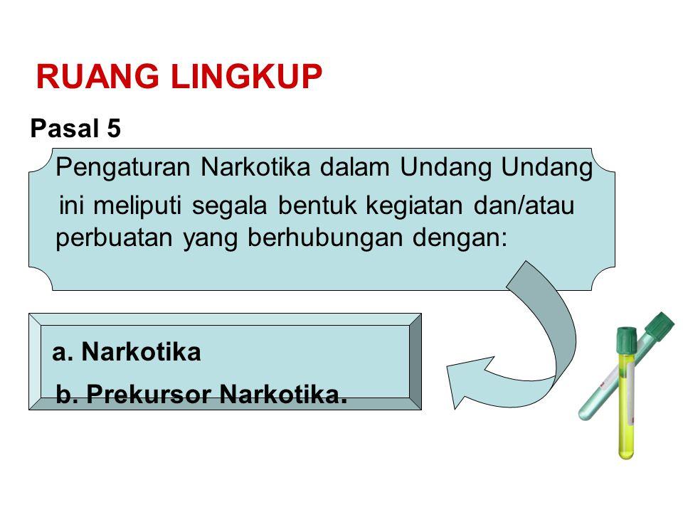 RUANG LINGKUP Pasal 5 Pengaturan Narkotika dalam Undang Undang