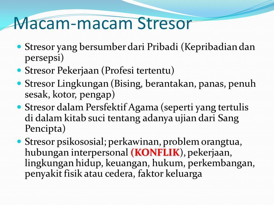 Macam-macam Stresor Stresor yang bersumber dari Pribadi (Kepribadian dan persepsi) Stresor Pekerjaan (Profesi tertentu)