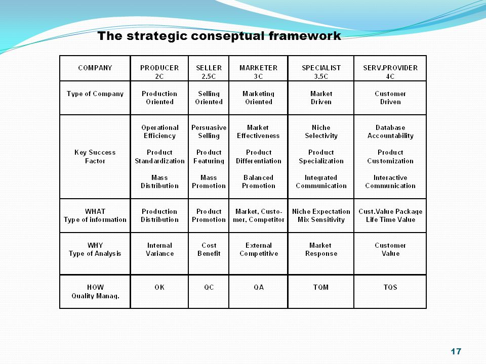 The strategic conseptual framework