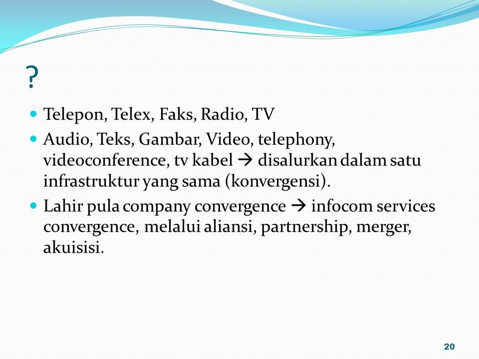 Telepon, Telex, Faks, Radio, TV
