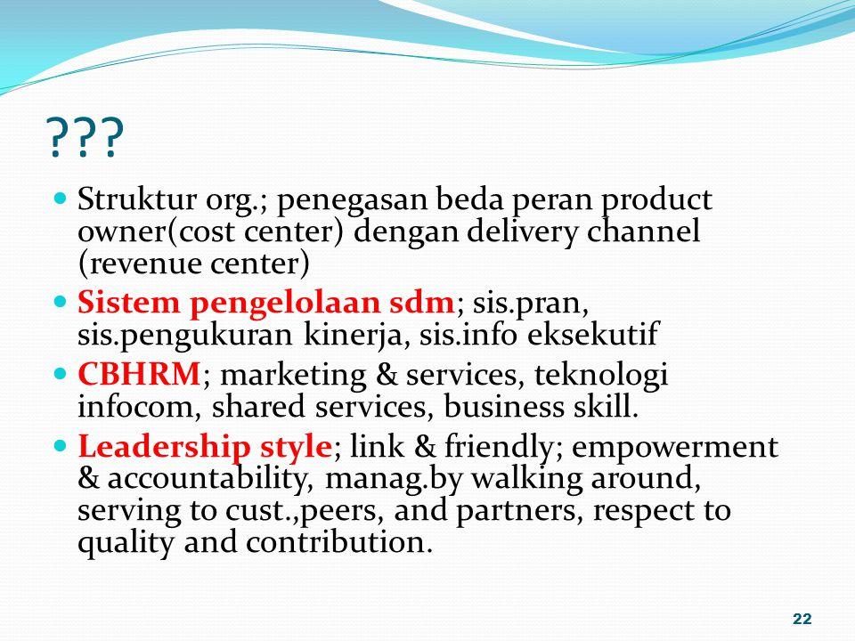 Struktur org.; penegasan beda peran product owner(cost center) dengan delivery channel (revenue center)