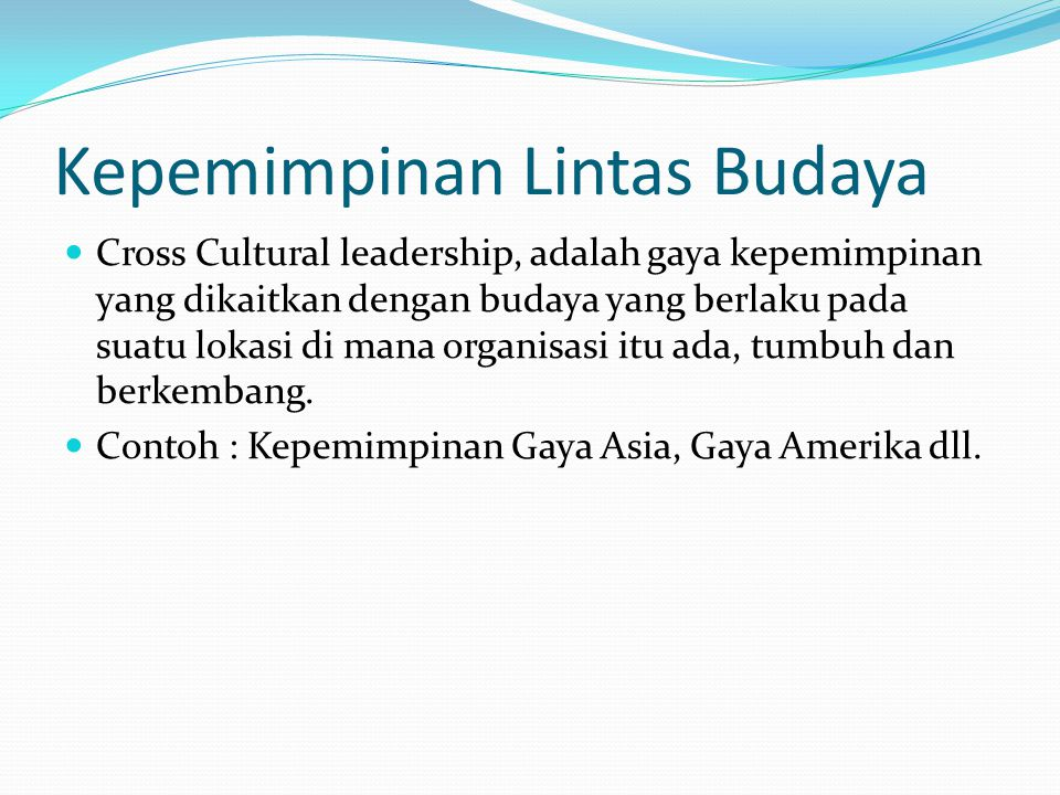 Kepemimpinan Lintas Budaya