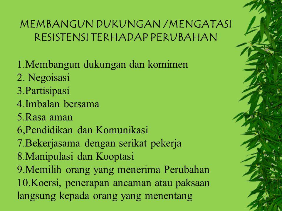MEMBANGUN DUKUNGAN /MENGATASI RESISTENSI TERHADAP PERUBAHAN