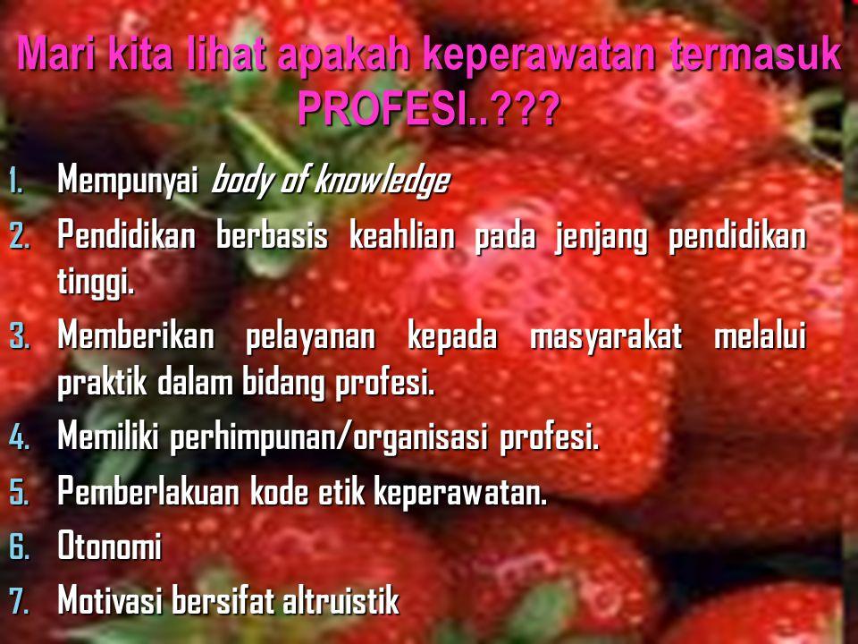 Mari kita lihat apakah keperawatan termasuk PROFESI..