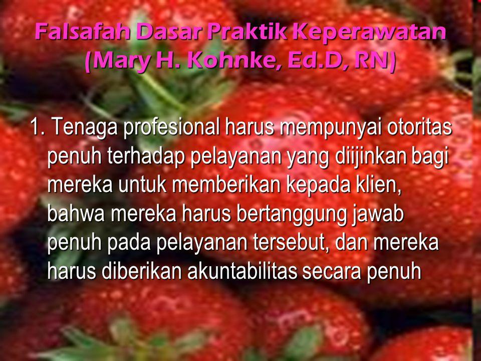 Falsafah Dasar Praktik Keperawatan (Mary H. Kohnke, Ed.D, RN)