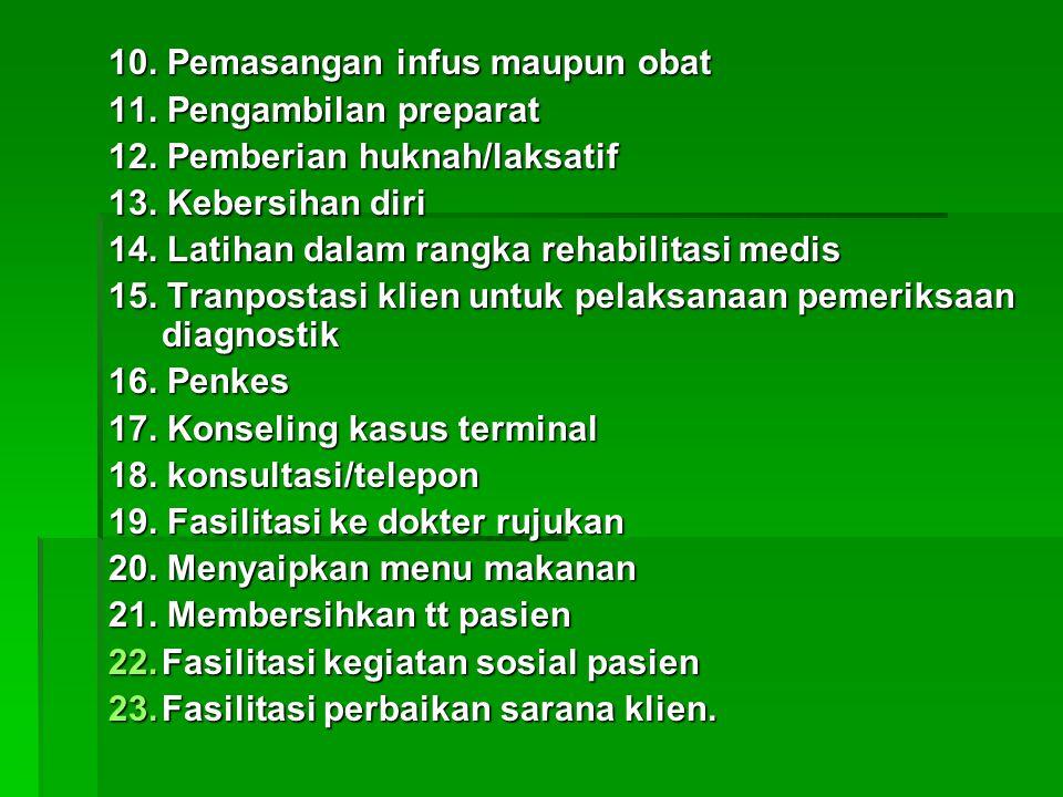 10. Pemasangan infus maupun obat