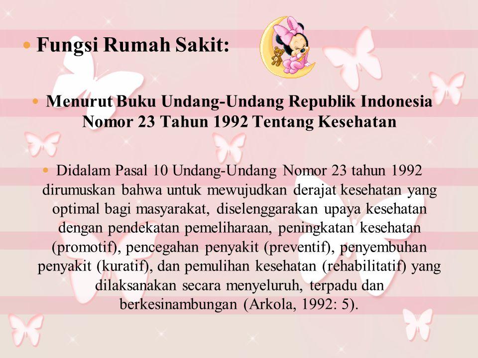 Fungsi Rumah Sakit: Menurut Buku Undang-Undang Republik Indonesia Nomor 23 Tahun 1992 Tentang Kesehatan.