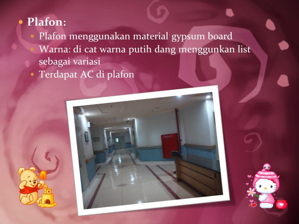 Plafon: Plafon menggunakan material gypsum board