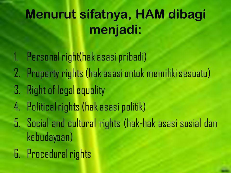 Menurut sifatnya, HAM dibagi menjadi: