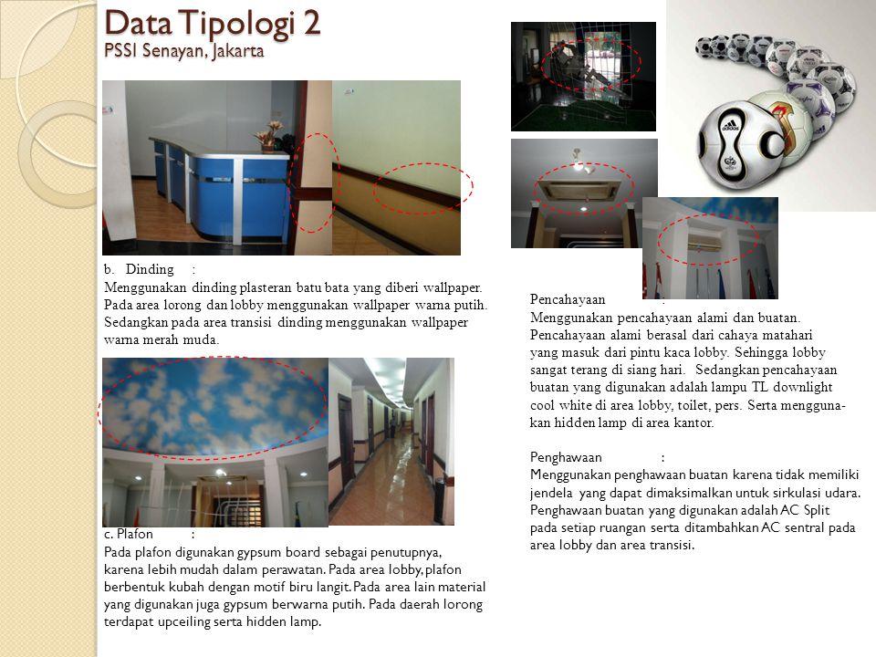 Data Tipologi 2 PSSI Senayan, Jakarta Dinding :