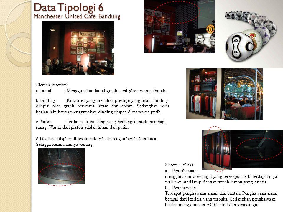 Data Tipologi 6 Manchester United Café, Bandung Elemen Interior :