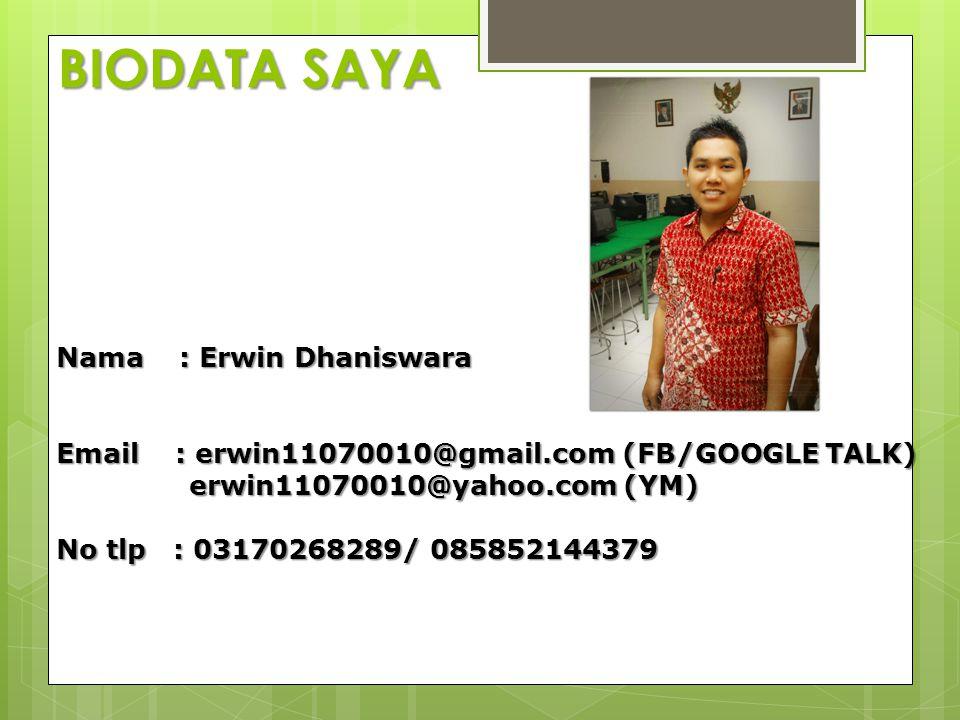 BIODATA SAYA Nama : Erwin Dhaniswara