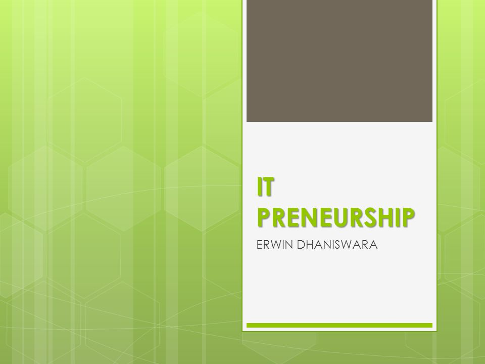 IT PRENEURSHIP ERWIN DHANISWARA