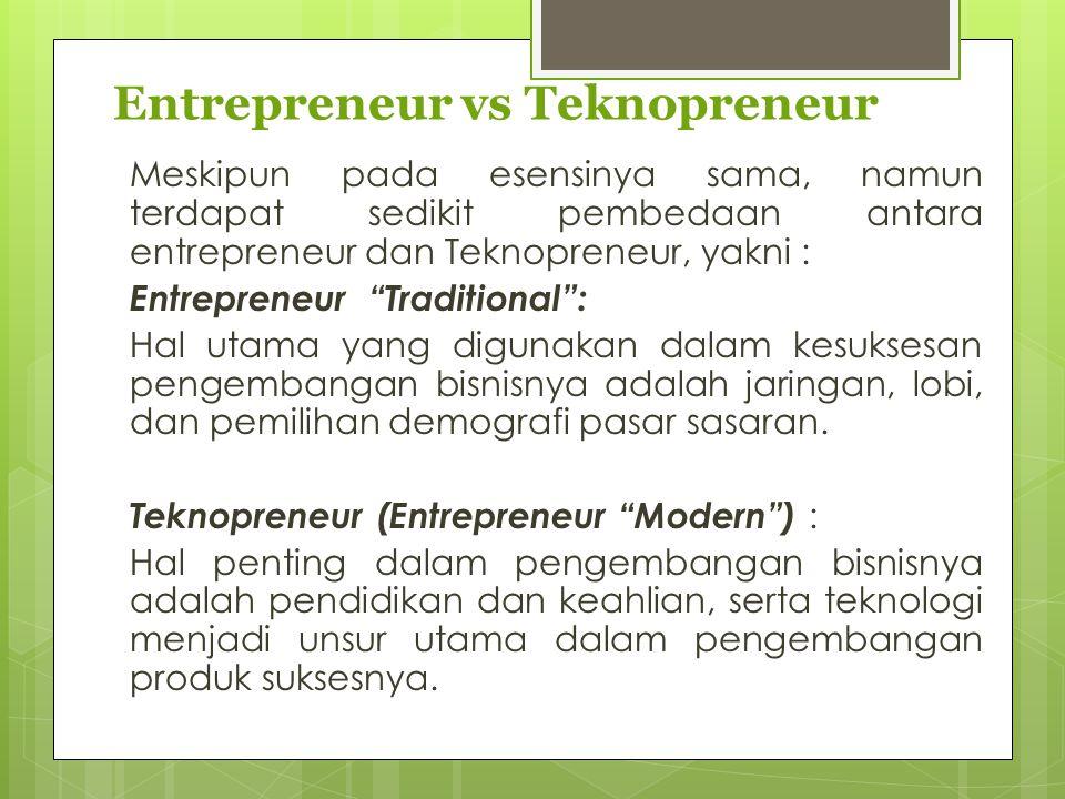 Entrepreneur vs Teknopreneur