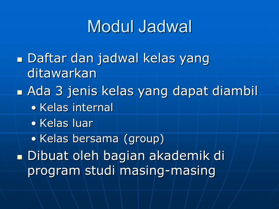 Modul Jadwal Daftar dan jadwal kelas yang ditawarkan