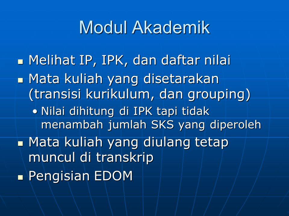 Modul Akademik Melihat IP, IPK, dan daftar nilai