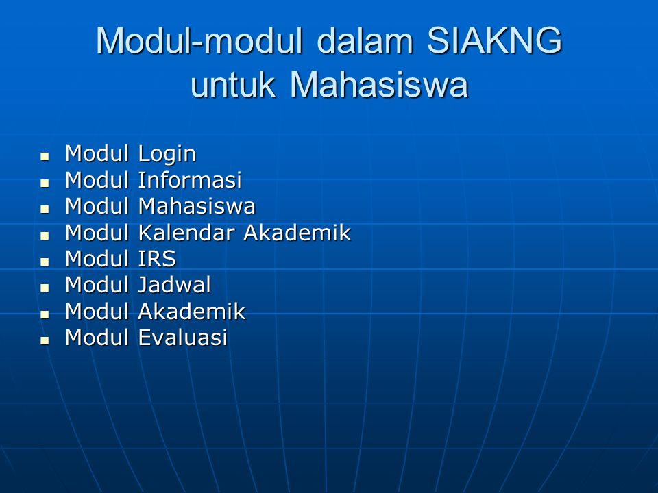 Modul-modul dalam SIAKNG untuk Mahasiswa