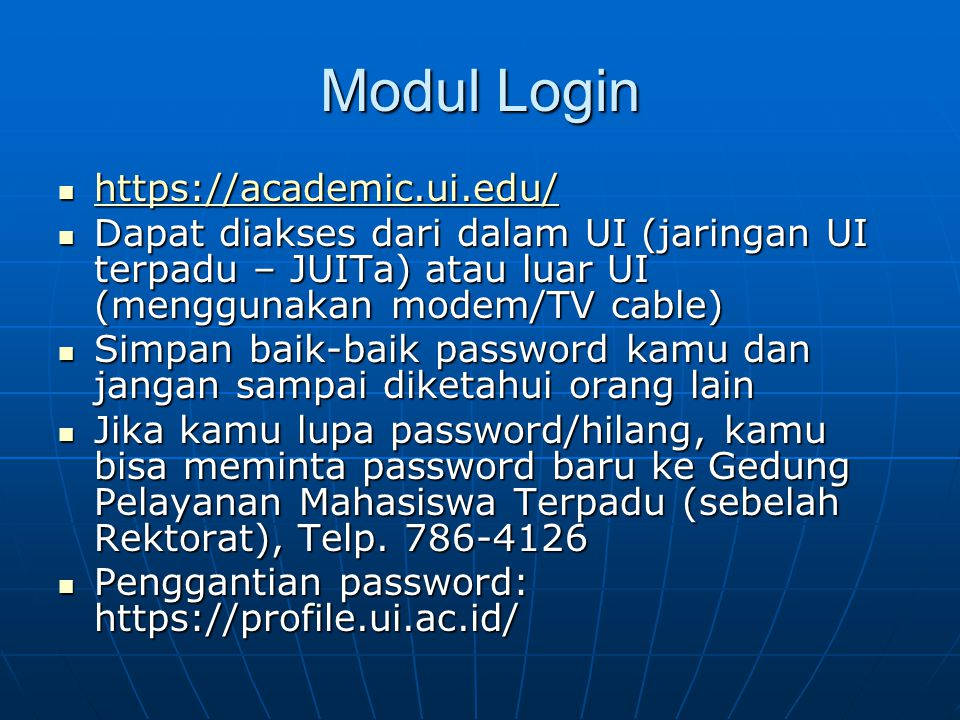 Modul Login https://academic.ui.edu/