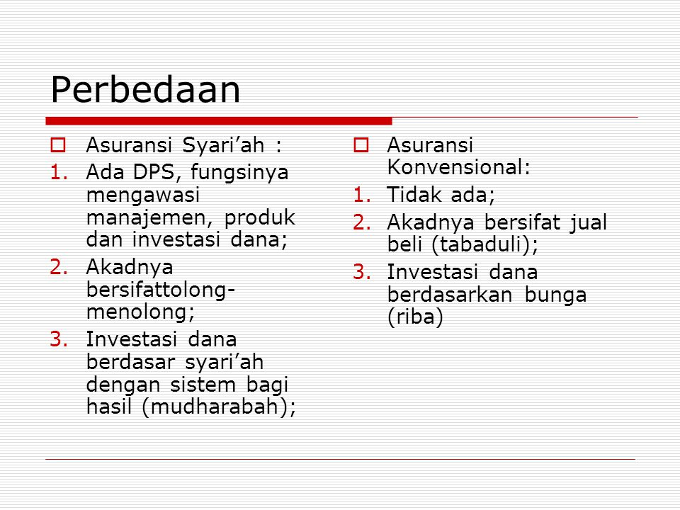 Perbedaan Asuransi Syari'ah :