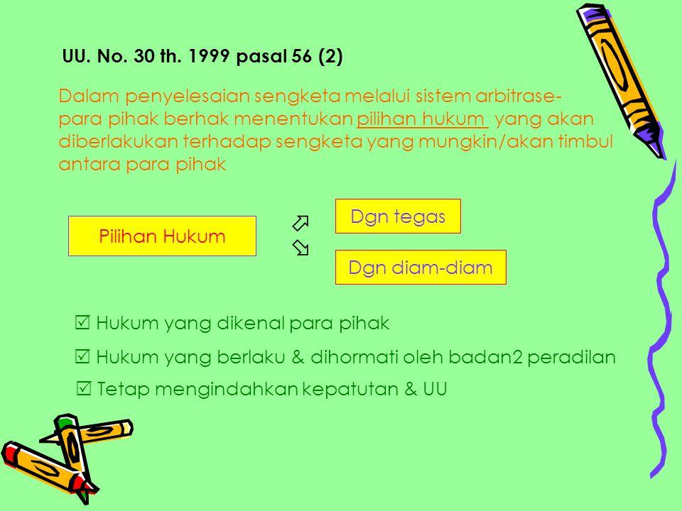 UU. No. 30 th. 1999 pasal 56 (2) Dalam penyelesaian sengketa melalui sistem arbitrase- para pihak berhak menentukan pilihan hukum yang akan.