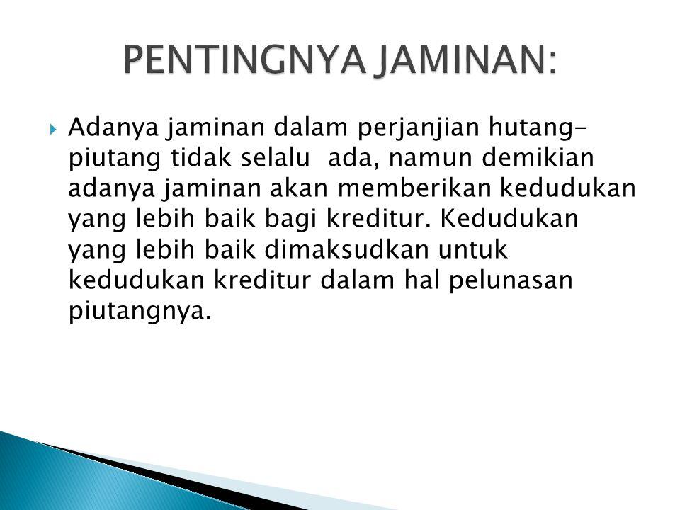 PENTINGNYA JAMINAN: