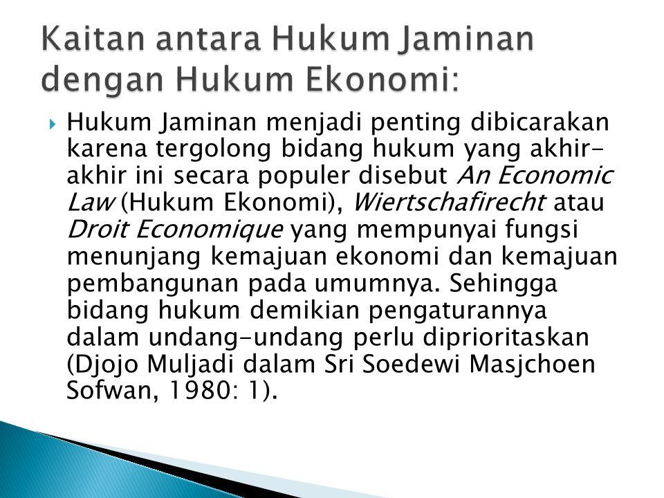 Kaitan antara Hukum Jaminan dengan Hukum Ekonomi: