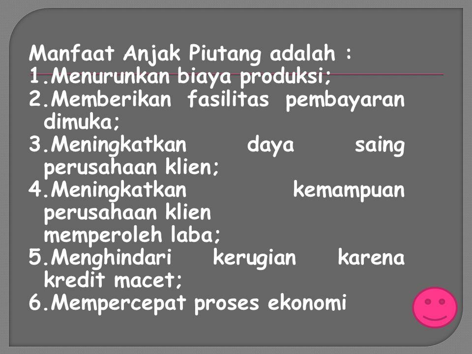 Manfaat Anjak Piutang adalah :