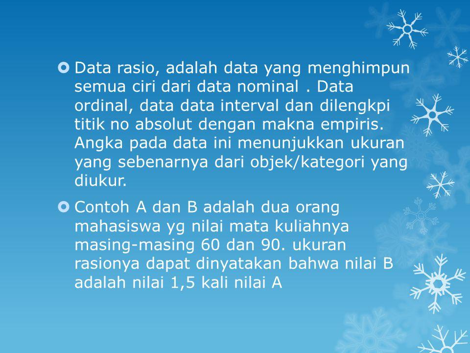 Data rasio, adalah data yang menghimpun semua ciri dari data nominal