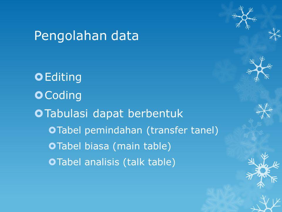 Pengolahan data Editing Coding Tabulasi dapat berbentuk
