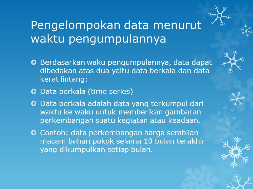 Pengelompokan data menurut waktu pengumpulannya