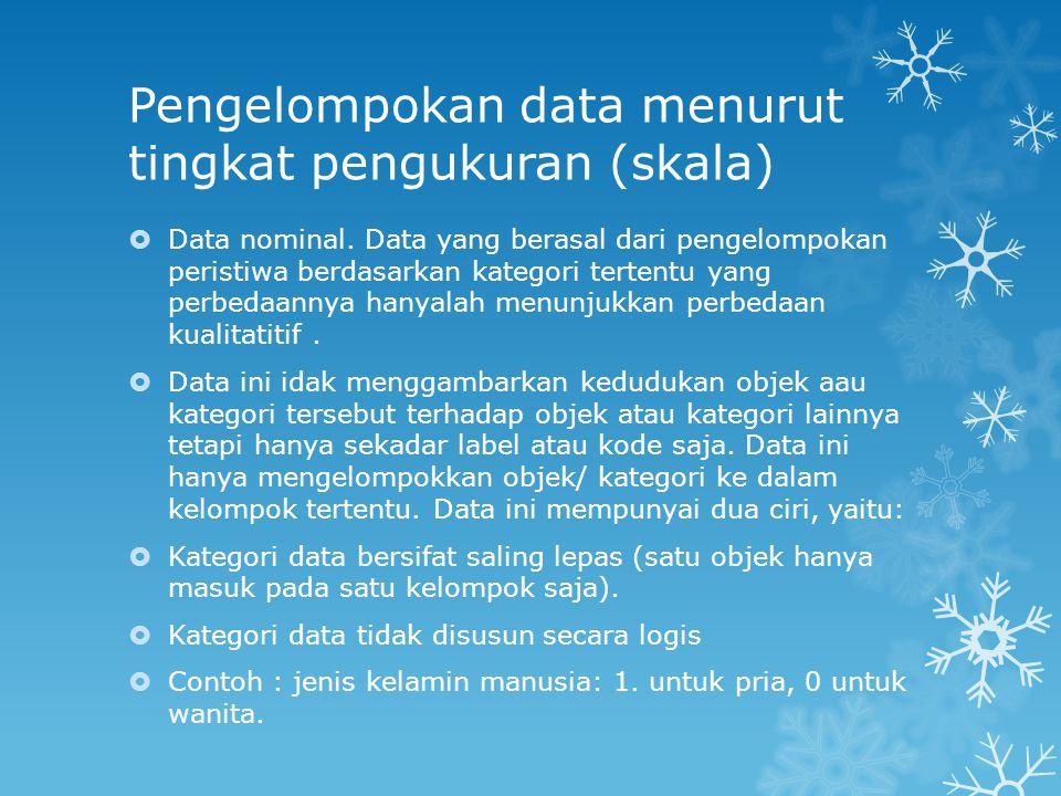 Pengelompokan data menurut tingkat pengukuran (skala)