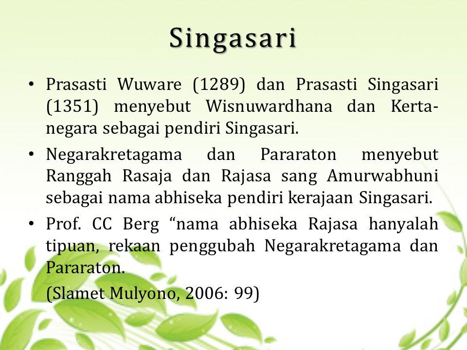 Singasari Prasasti Wuware (1289) dan Prasasti Singasari (1351) menyebut Wisnuwardhana dan Kerta-negara sebagai pendiri Singasari.