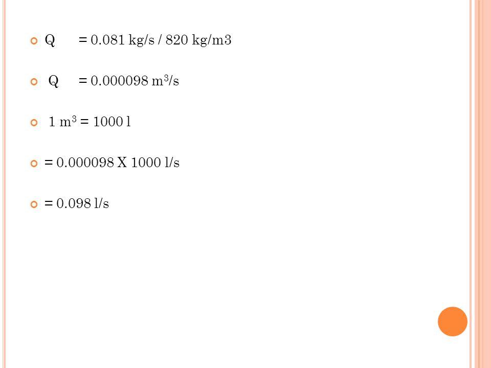 Q = 0.081 kg/s / 820 kg/m3 Q = 0.000098 m3/s 1 m3 = 1000 l = 0.000098 X 1000 l/s = 0.098 l/s