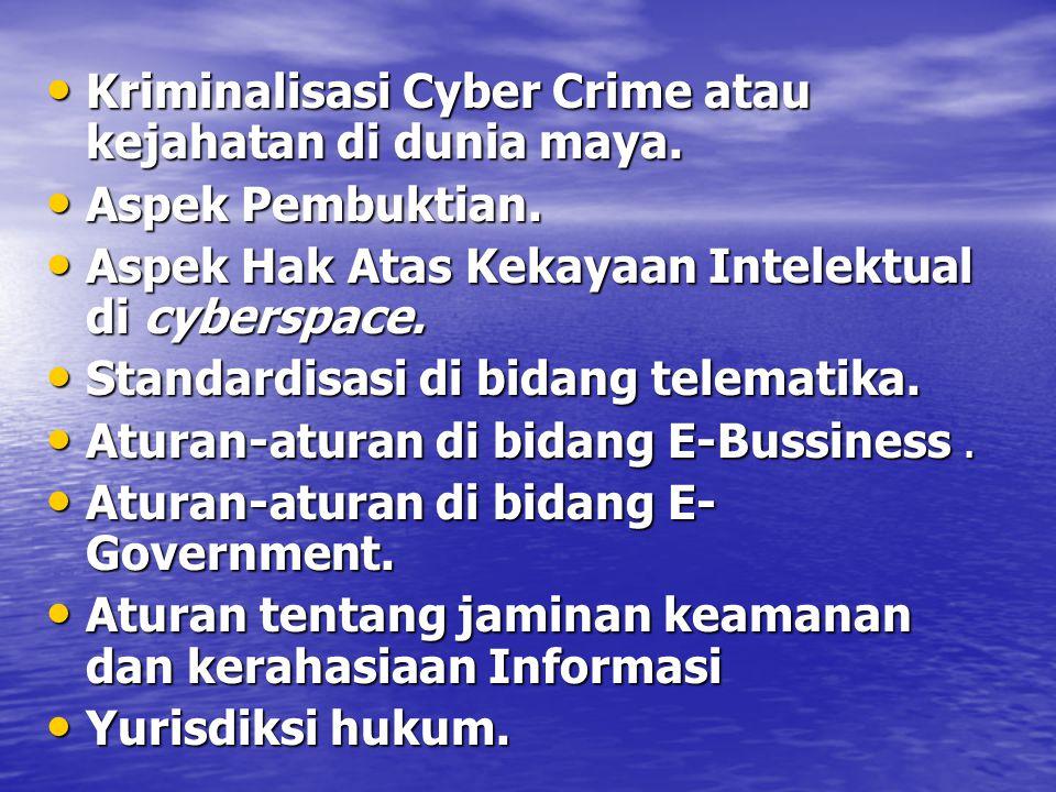 Kriminalisasi Cyber Crime atau kejahatan di dunia maya.