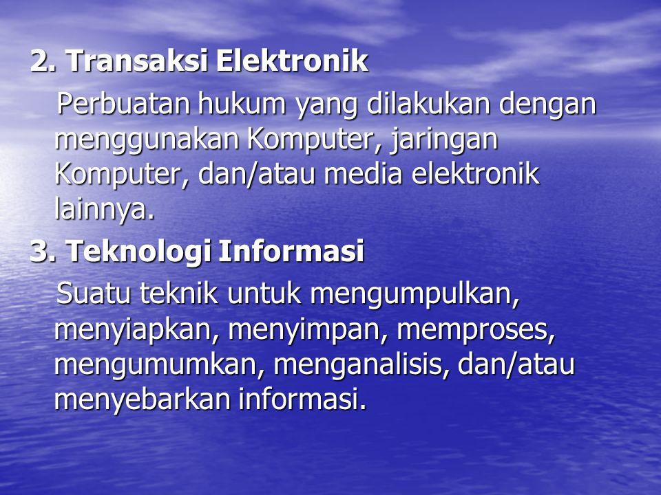 2. Transaksi Elektronik Perbuatan hukum yang dilakukan dengan menggunakan Komputer, jaringan Komputer, dan/atau media elektronik lainnya.