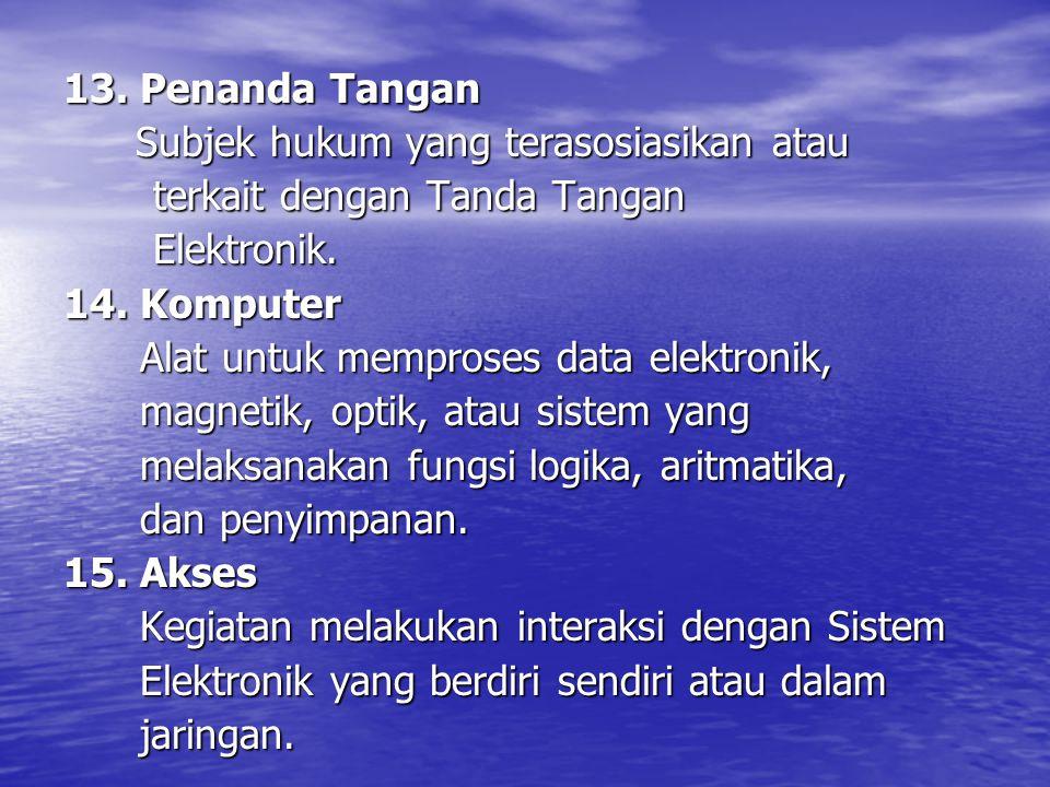 13. Penanda Tangan Subjek hukum yang terasosiasikan atau. terkait dengan Tanda Tangan. Elektronik.