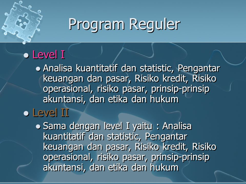 Program Reguler Level I Level II