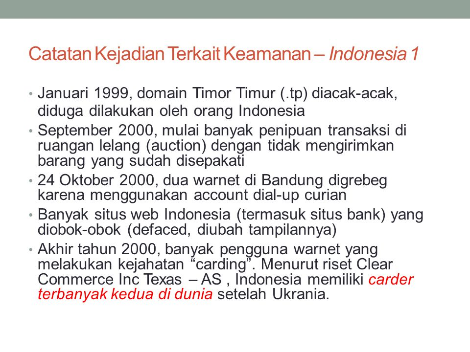 Catatan Kejadian Terkait Keamanan – Indonesia 1