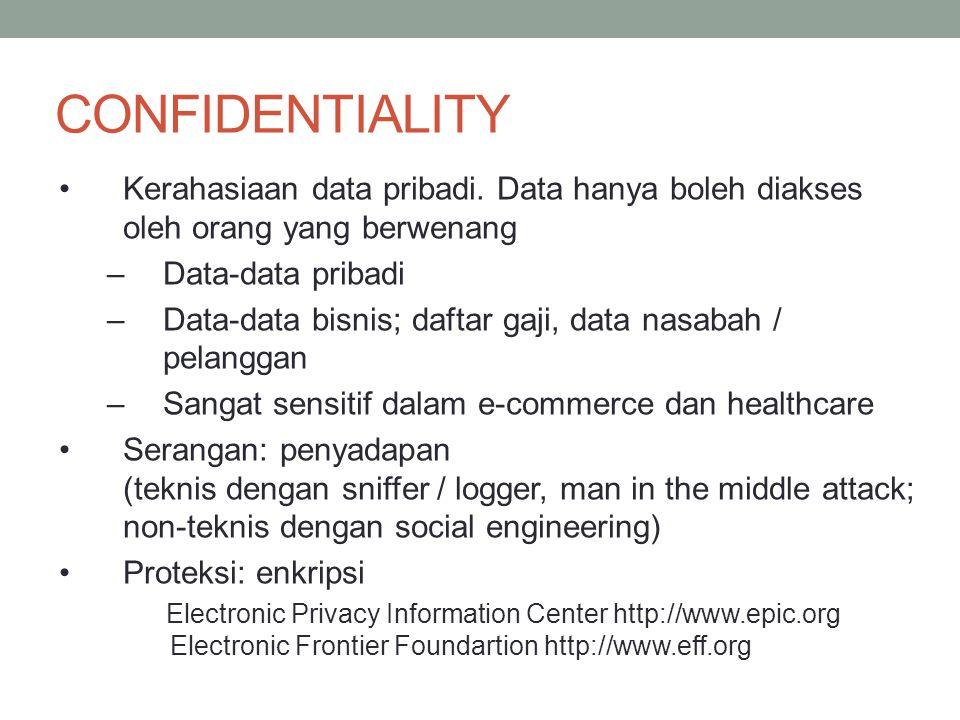 CONFIDENTIALITY Kerahasiaan data pribadi. Data hanya boleh diakses oleh orang yang berwenang. Data-data pribadi.