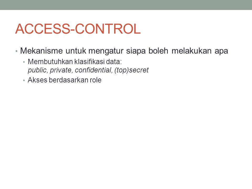ACCESS-CONTROL Mekanisme untuk mengatur siapa boleh melakukan apa