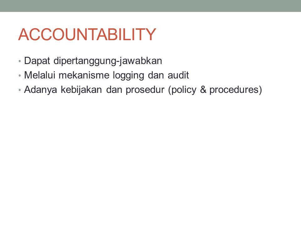 ACCOUNTABILITY Dapat dipertanggung-jawabkan