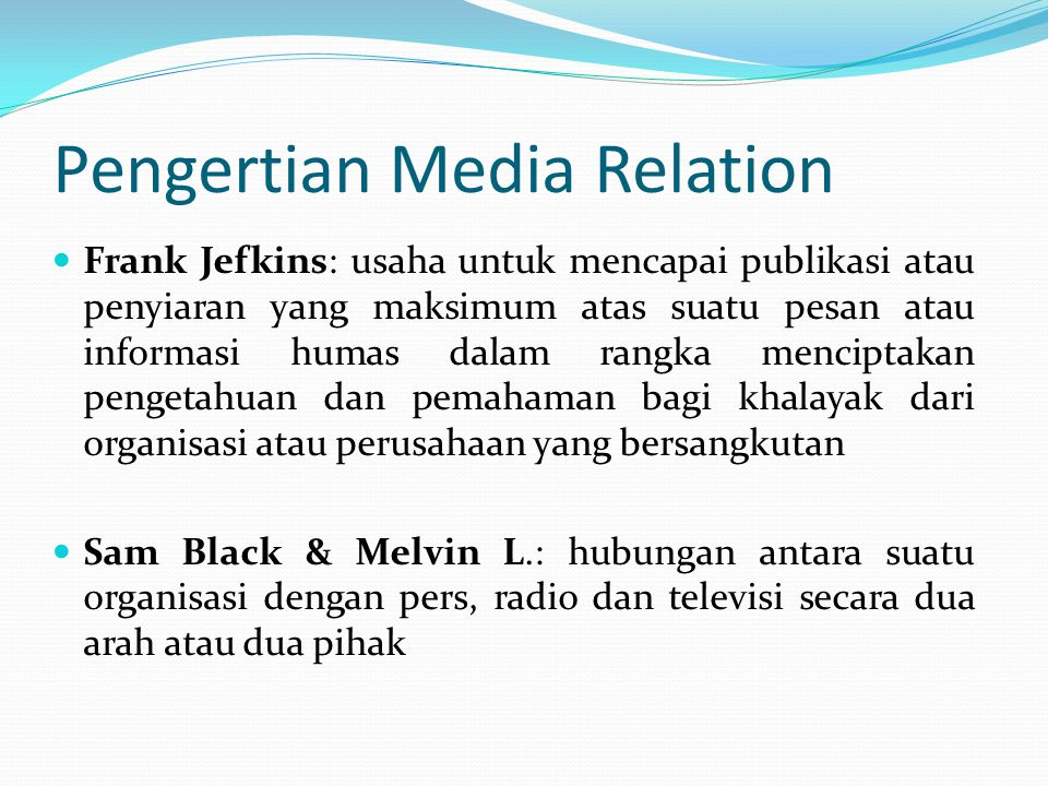 Pengertian Media Relation