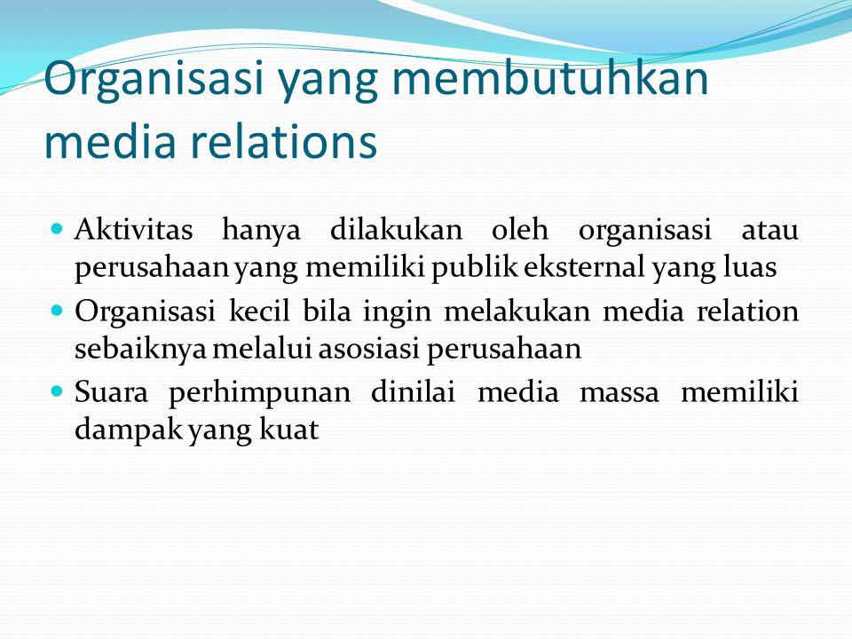 Organisasi yang membutuhkan media relations