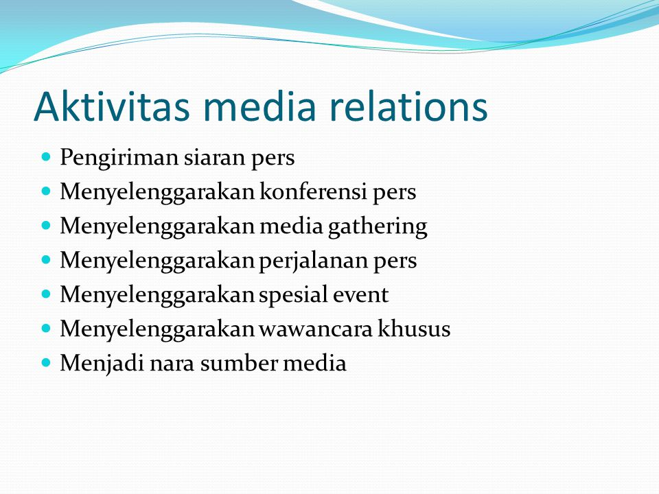Aktivitas media relations