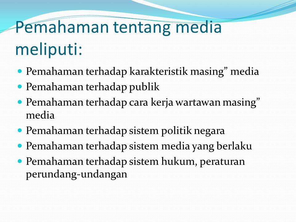 Pemahaman tentang media meliputi: