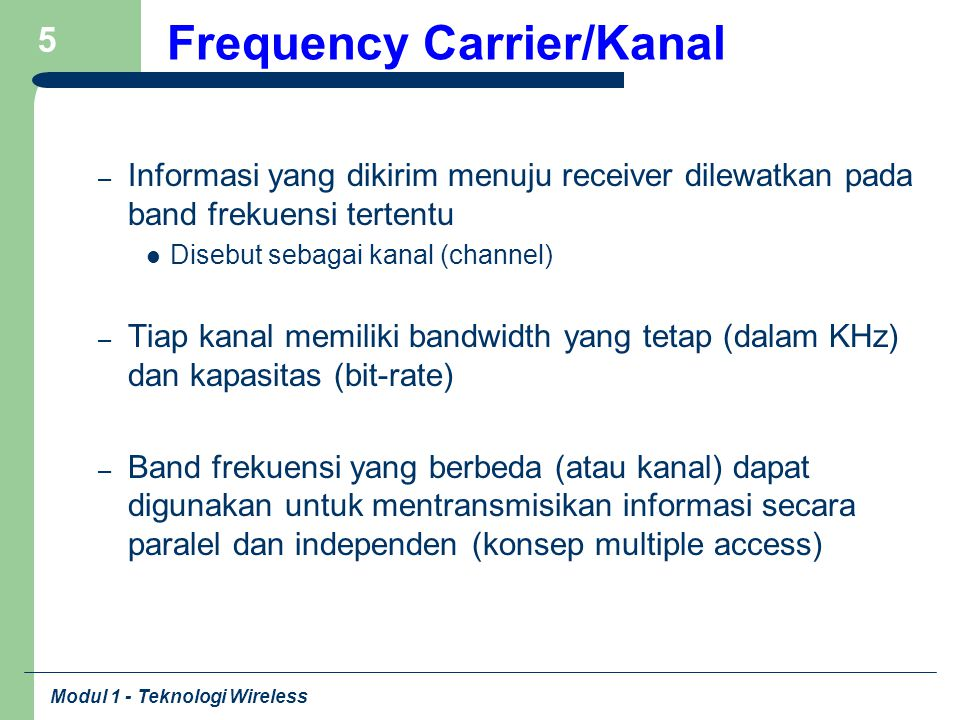 Frequency Carrier/Kanal