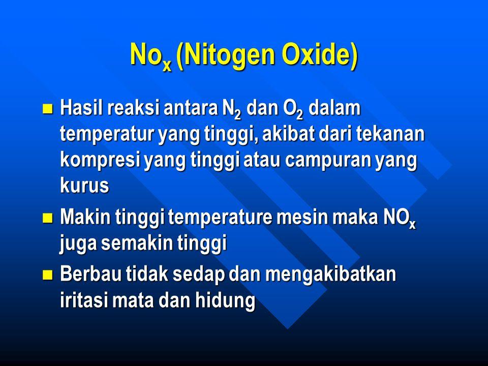 Nox (Nitogen Oxide) Hasil reaksi antara N2 dan O2 dalam temperatur yang tinggi, akibat dari tekanan kompresi yang tinggi atau campuran yang kurus.