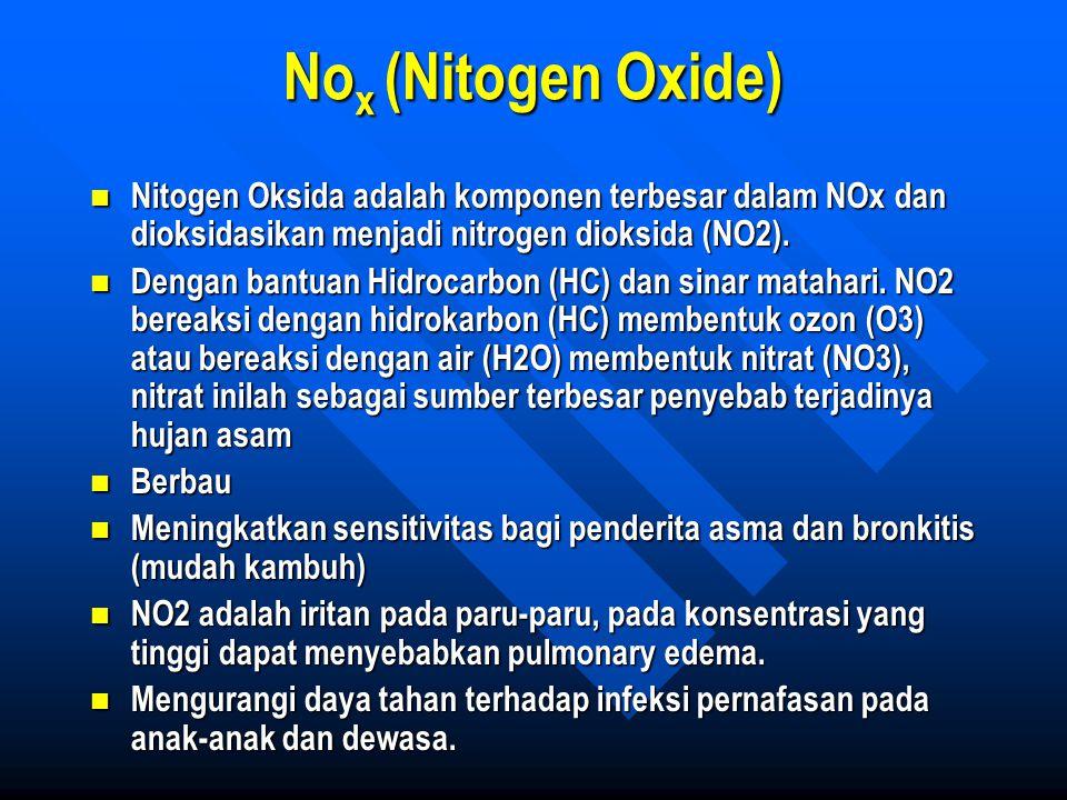 Nox (Nitogen Oxide) Nitogen Oksida adalah komponen terbesar dalam NOx dan dioksidasikan menjadi nitrogen dioksida (NO2).